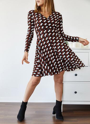 XHAN Desenli Kruvaze Elbise 9Kxk6-43294-02 Renkli